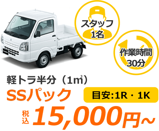 軽トラ半分(1㎥) SSパック 税込15,000円 目安1R・1K